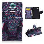 The Elephant Pattern PU Leather Case Cover with Stand and Card Holder for Sony Xperia M4