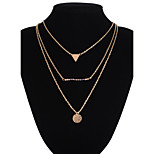 Triangle Pendant Strand Multilayer Three Chain Necklace