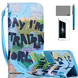 LEXY® Map Pattern PU Full Body Leather Case with Screen Protector and Stylus for iPhone 6/6S Plus