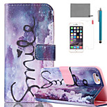 LEXY® Purple Dream Pattern PU Full Body Leather Case with Screen Protector and Stylus for iPhone 6/6S