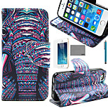 LEXY® Purple Elephant Tribal Pattern PU Full Body Leather Case with Screen Protector and Stylus for iPhone 5/5S