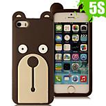 3d cartoon orso bello gomma animale della copertura della cassa molle del silicone per iPhone 5 / 5s