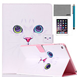 LEXY® The White Cat Pattern PU Leather Flip Stand Case with Screen Protector and Stylus for iPad Air 2/iPad 6