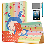 LEXY® Kindheart Bunny Pattern PU Leather Flip Stand Case with Screen Protector and Stylus for iPad Mini 1/2/3