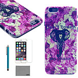 LEXY® Purple Elephant Pattern Hard PC Back Case with 9H Glass Screen Protector and Stylus for iPhone 5/5S