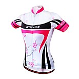 WOSAWE Women's Summer Sport Jersey Bike Cycling Bicycle Quick Dry Breathable Plum Blossom Print full Length Zipper Shirt