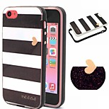 2-in-1 Black And White Case Pattern TPU Back Cover + PC Bumper Shockproof Soft Case For iPhone 5C