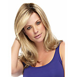 Capless Long Curly  Stright Blonde Synthetic Wig Side Bang
