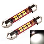 YOBO 3W 240LM Festoon 41MM 6*4014 Pipe Sleeve White Light for Car Steering Light Bulb / Reading Lamp (2 PCS /DC 12-24V)