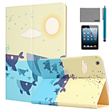 LEXY® Whale Pattern PU Leather Flip Stand Case with Screen Protector and Stylus for iPad Mini 1/2/3