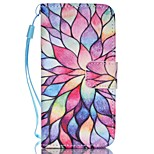 Flower Pattern PU Material Card Lanyard Case for iPhone 5/5S