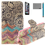 LEXY® Old-Fashion Print Pattern PU Full Body Leather Case with Screen Protector and Stylus for iPhone 6/6S