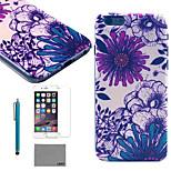 lexy® rosso e blu modello di loto posteriore del pc astuccio rigido con protezione per lo schermo in vetro 9h e lo stilo per iPhone 5 / 5s