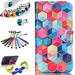 Geometric Pattern PU Leather Phone Holster Includes Stand Anti-dust Plug stylus, for Samsung Galaxy S5 I9600