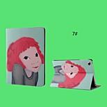 muchacha de la historieta de la PU de cuero con la caja elegante soporte para el ipad 2/3/4 (corlors surtidos)