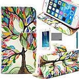 lexy® albero modello di colore arte pu custodia in pelle corpo pieno, con la protezione dello schermo e lo stilo per iPhone 5 / 5s
