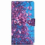 Blue Bottom Safflower Pattern PU Leather Phone Case For Sony M4