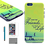 LEXY® Green Coast Pattern Hard PC Back Case with 9H Glass Screen Protector and Stylus for iPhone 6/6S Plus