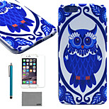 lexy® tiefblauen Eulenmuster harte PC zurück Fall mit 9h Glasdisplayschutzfolie und Schreibkopf für iphone 5 / 5s