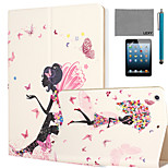 LEXY® Butterfly GirlPattern PU Leather Flip Stand Case with Screen Protector and Stylus for iPad Mini 4