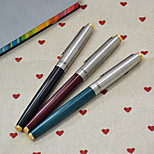 Extra-fine Silver Pen Cap Fountain Pen(Random Color)