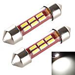 YOBO 3W 240LM Festoon 36MM 6*4014 Pipe Sleeve White Light for Car Steering Light Bulb / Reading Lamp (2 PCS /DC 12-24V)
