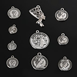 Beadia Vintage Metal Coin Charm Pendants Antique Silver Bracelet Charms & Necklace Pendant 10 Styles