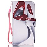 Red Lips Pattern PU Material high Quality Wallet Hand Rope Section Phone Case for iPhone 5/5S