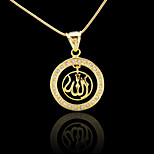 18K Real Gold Plated Allah Muslim Islamic Pendant 2.2*3.2CM