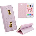 iphone 5 PU-Lederabdeckungs disney Hallo Kitty rosa Schmetterlinge mit einem freien headfore HD Displayschutzfolie für iphone5 / 5s