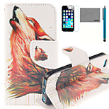 LEXY® Red Wolf Howl Pattern PU Full Body Leather Case with Screen Protector and Stylus for iPhone 5C