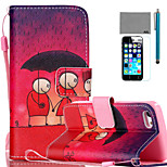 LEXY® Lover Under Umbrella Pattern PU Full Body Leather Case with Screen Protector and Stylus for iPhone 5C