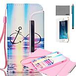lexy® Split-Typ Regenbogen-Anker-Muster PU-Ganzkörper-Ledertasche mit Displayschutzfolie und Schreibkopf für iphone 5 / 5s