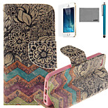 LEXY® Old-Fashion Print Pattern PU Full Body Leather Case with Screen Protector and Stylus for iPhone 5/5S