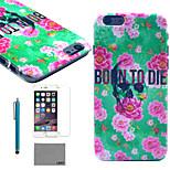 lexy® Blumen Schädel-Muster Fest PC zurück Fall mit 9h Glasdisplayschutzfolie und Schreibkopf für iphone 5 / 5s