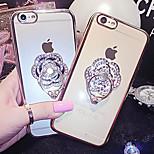 abrir y cerrar subió placas de diamantes anillo brillante cubierta de la caja trasera dura de plástico con soporte para el iphone 6