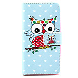 Owl  Pattern PU Leather Case with Money Holder Card Slot for  LG LEON  H340N