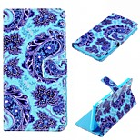 blue FlowerDesign PU Leather Case for Sony Xperia Z3 / Z3 Compact