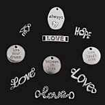 Beadia Antique Silver Always& Love&Hope& Live Laugh Love& Believe in Love& Live Your Dream Metal Charm Pendants