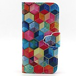 Hexagon Pattern PU Leather Full Body Case with Card Slot and Stand for iPhone 5/5S