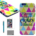 LEXY® Sweet Home Pattern Hard PC Back Case with 9H Glass Screen Protector and Stylus for iPhone 5/5S