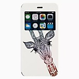 Giraffe pattern TPU+PU Flip window shell Case For iPhone6/6s