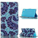 Blue Flower  Design PU Leather Full Body Case with Stand and Card Slot  for Huawei P8/P8Lite