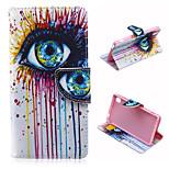 padrão de olho mágico pu tampa da caixa de couro com suporte e suporte de cartão para Sony Xperia m4