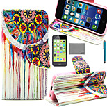 LEXY® Painting Flower Tribal Pattern PU Full Body Leather Case with Screen Protector and Stylus for iPhone 5C