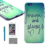 LEXY® Green Word Pattern Hard PC Back Case with 9H Glass Screen Protector and Stylus for iPhone 6/6S
