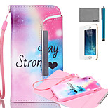 LEXY® Split type Rainbow Stars Pattern PU Full Body Leather Case with Screen Protector and Stylus for iPhone 5/5S