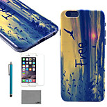 LEXY® Horizontal Version of Waves Pattern Hard PC Back Case with 9H Glass Screen Protector and Stylus for iPhone 6/6S