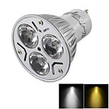 YouOKLight®  Dimmable GU10 3W 200LM 3000/6000K  White/ Warm White 3-LED Spot Light Bulb - Silver + White (AC85~265V)