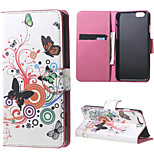 Magnetic Leather Stand Case Cover for iPhone 6/6S - White butterfly